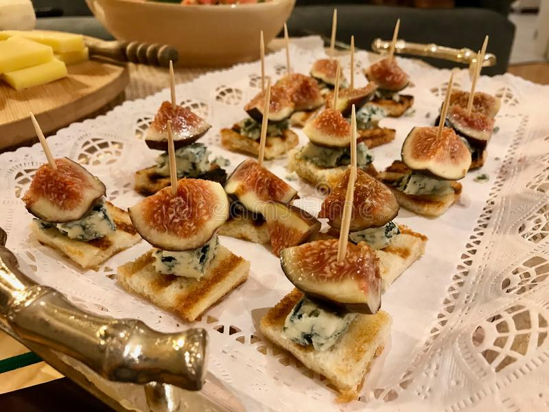 Fig Canepe with Roquefort Blue Cheese and Toast Bread royalty free stock photography