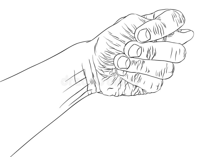 Fig fico hand sign, detailed black and white lines vector illustration, hand drawn. stock illustration
