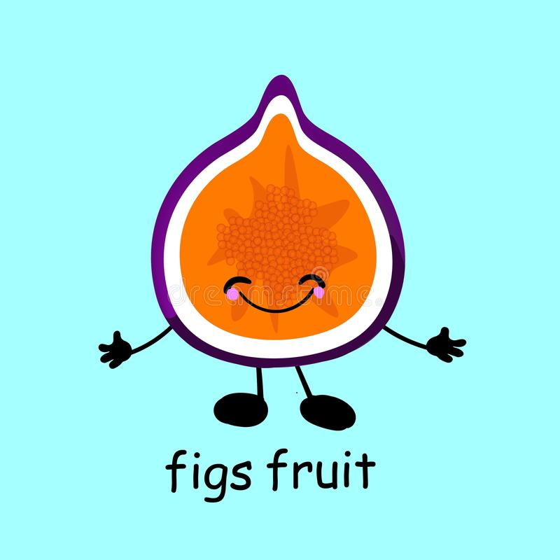 Fig Fruit character. Card for children. Learn words. The characters are funny and cute. Fruit with eyes and smiles. Healthy food.  vector illustration