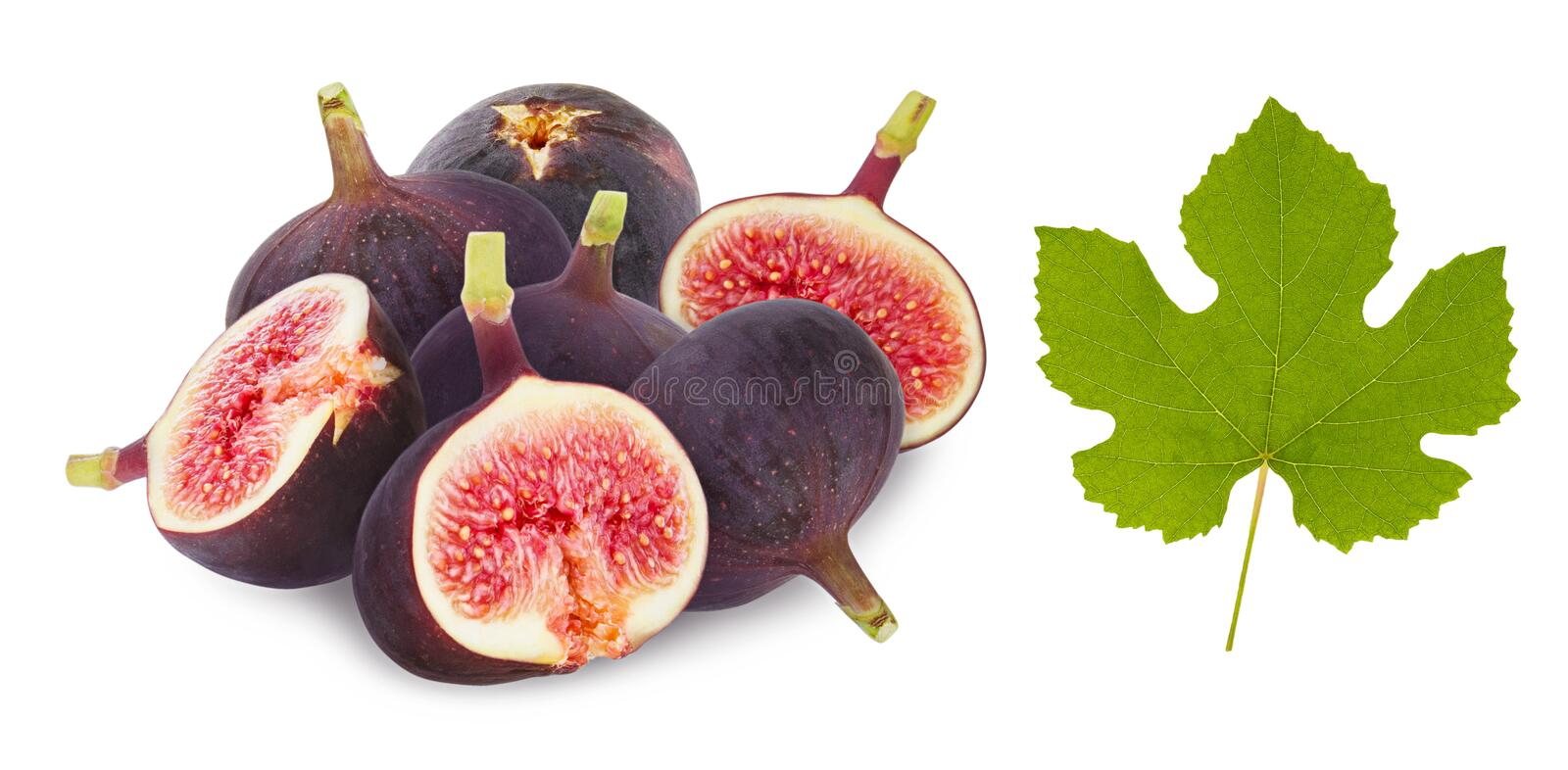 Fig fruit isolated. Ripe whole figs pile and half cut slice with green leaf isolated on white background royalty free stock photo