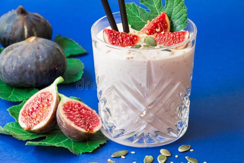 Fig fruit smoothie glass. stock photo