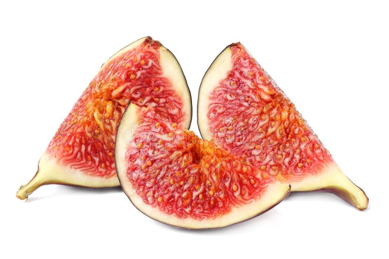 Fig fruits with cut slice isolated on white background stock photos