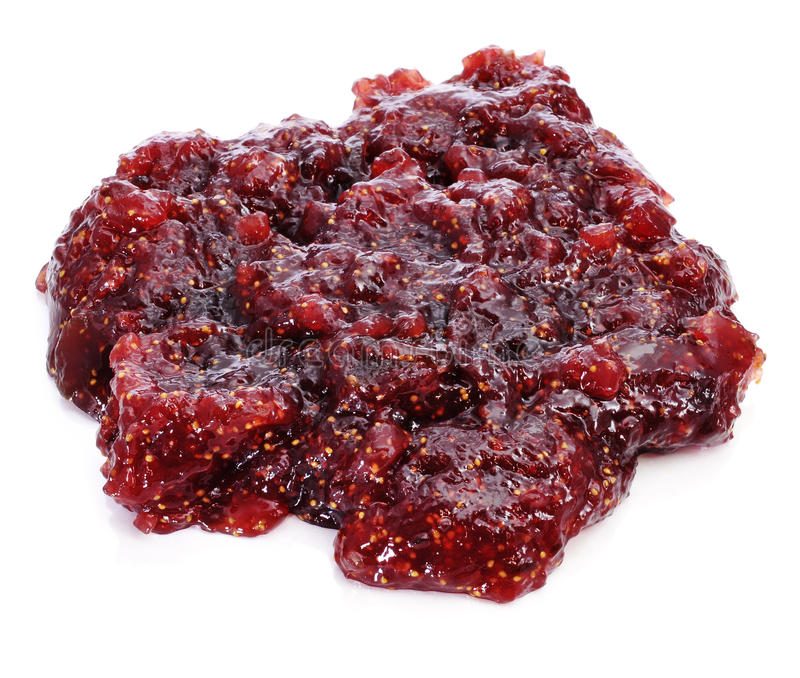 Fig jam. A blob of fig jam on a white background stock photos