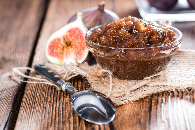 Fig Marmalade. In a glass (detailed close-up shot stock photos