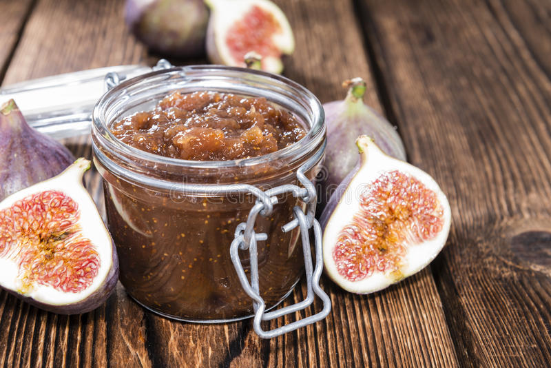 Fig Marmalade. In a glass (detailed close-up shot royalty free stock photography