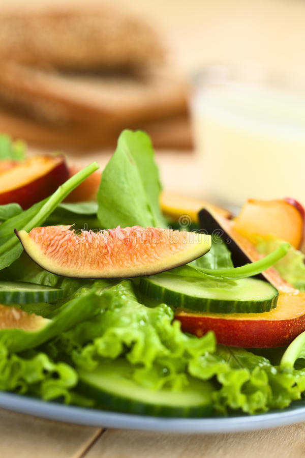 Fig, Nectarine and Spinach Salad. Fresh vegetarian salad made of fig, nectarine, spinach, cucumber and lettuce on plate with wholewheat bread and jogurt sauce in royalty free stock photography