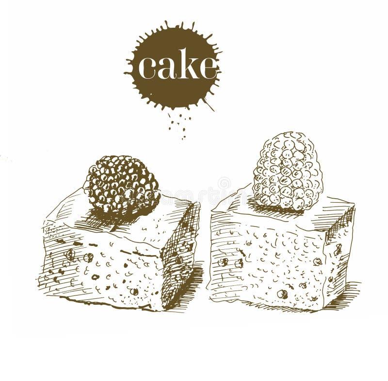 Fig?rchenkuchen eigenh?ndig in dem im altem Stil Vektorschwarzweiss-Weinleseillustration Getrennte Nachricht auf wei?em Hintergru stock abbildung