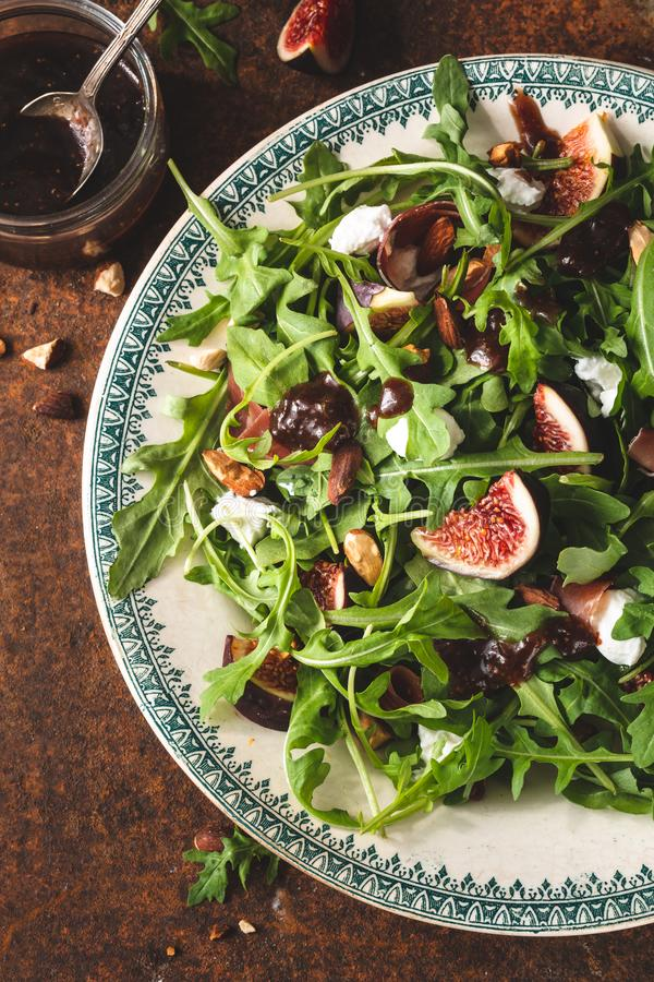 Fig Salad for Summer Food with Figs, Spinach and Feta cheese royalty free stock photography