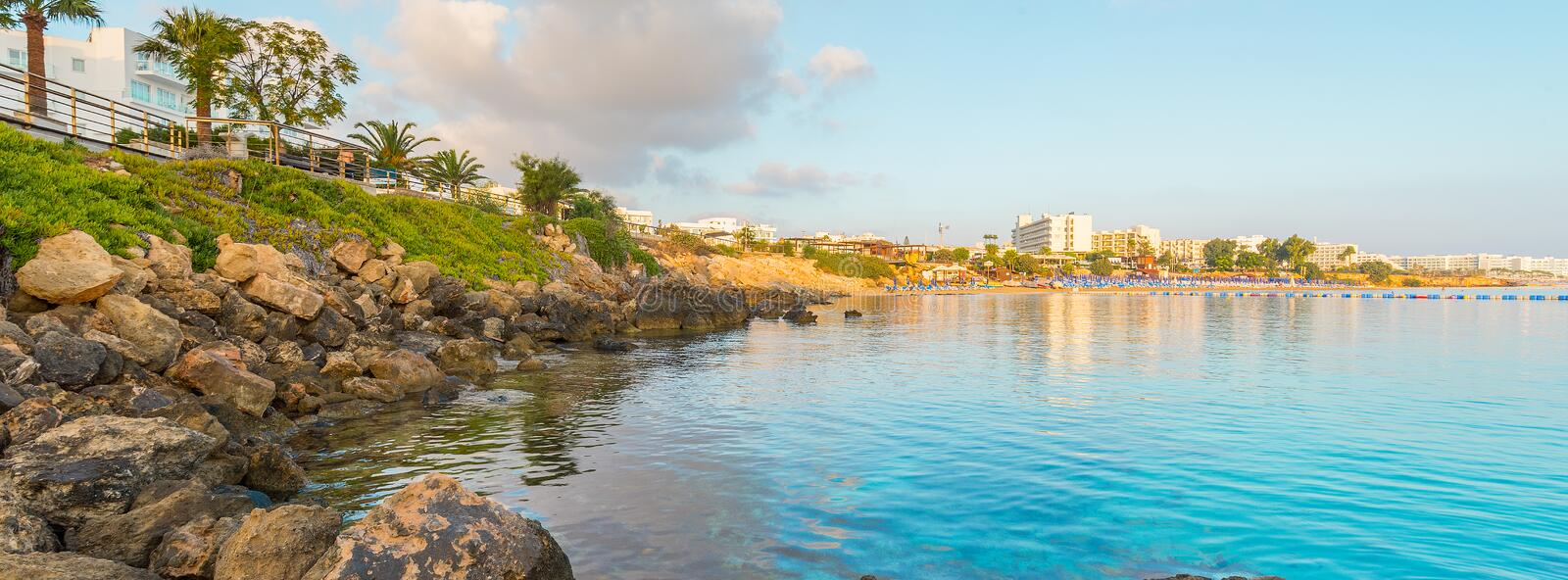 Fig tree bay beach in Protaras, Cyprus. royalty free stock images