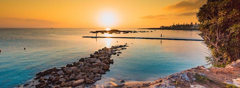 Fig tree bay beach in Protaras, Cyprus. stock photos