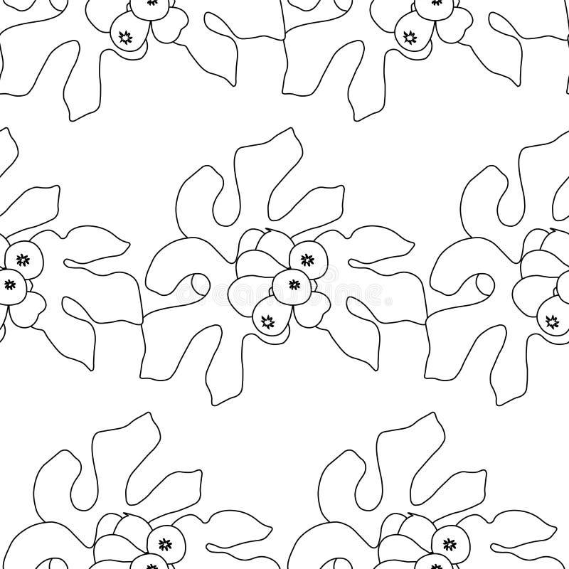 Fig. zwart-wit naadloos patroon De zwart-witte achtergrond van fruitbladeren stock illustratie