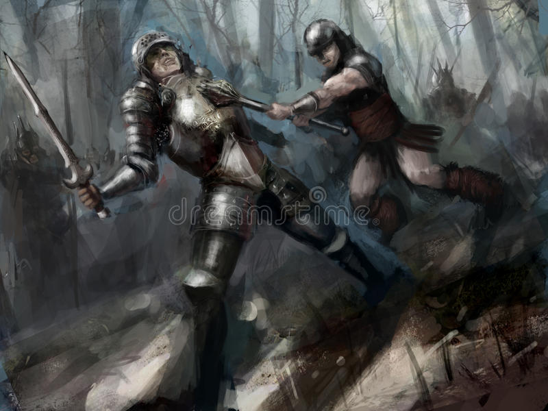 Download Fight stock illustration. Illustration of woods, fantasy - 25009475