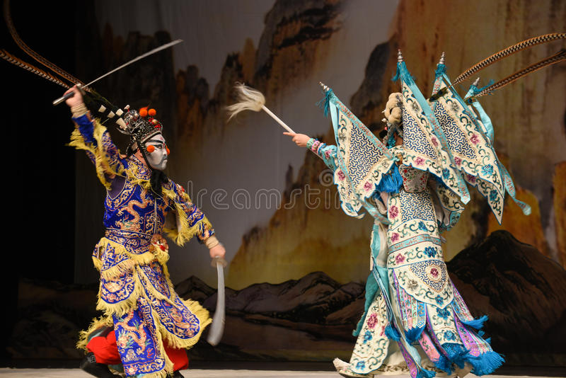 """Fight against- Beijing Opera"""" Women Generals of Yang Family"""". This opera tells a patriotic story how does an old woman of a hundred years old go out royalty free stock photography"""