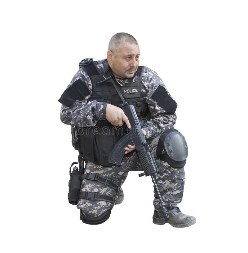 Fight against terrorism, Special Forces soldier, with assault rifle, police swat stock photo