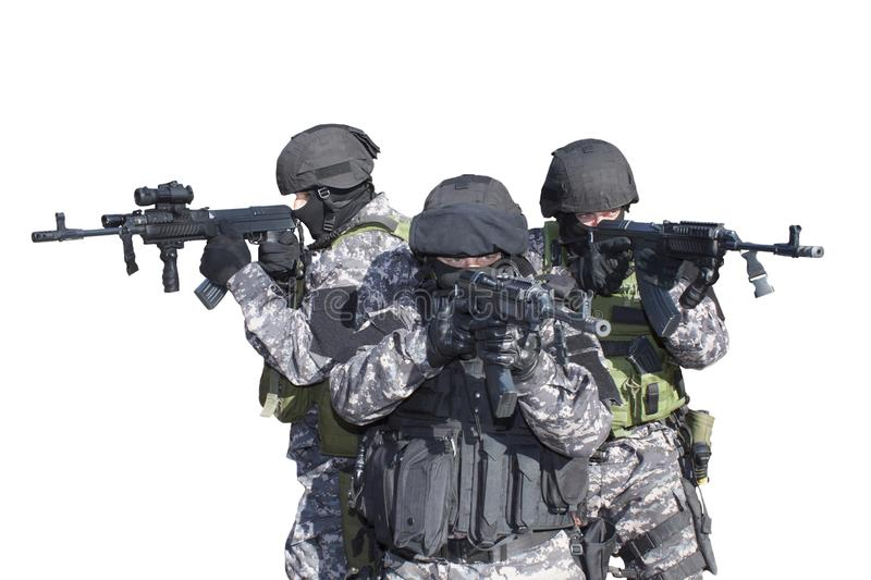 Fight against terrorism, Special Forces soldier, with assault rifle, police swat royalty free stock images