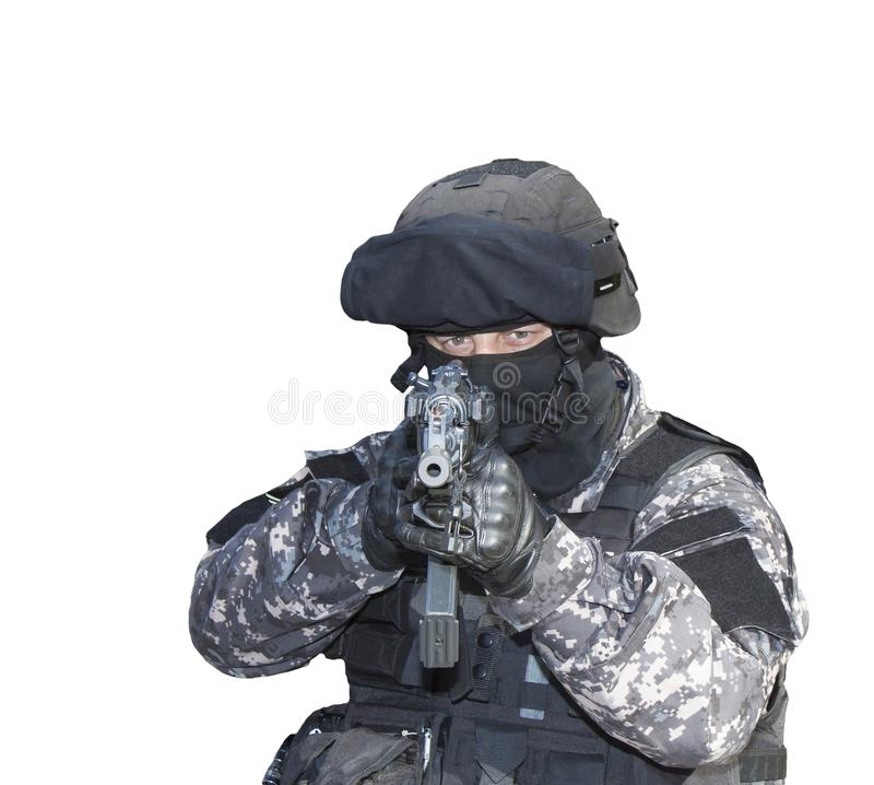 Fight against terrorism, Special Forces soldier, with assault rifle, police swat. Isolated on white royalty free stock image