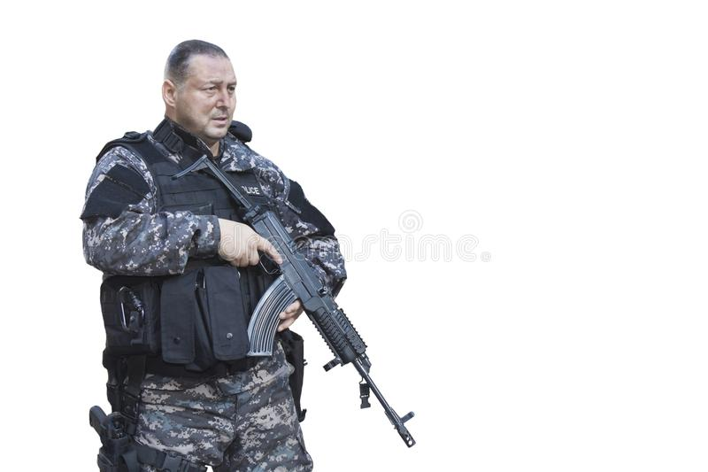 Fight against terrorism, Special Forces soldier, police swat royalty free stock image