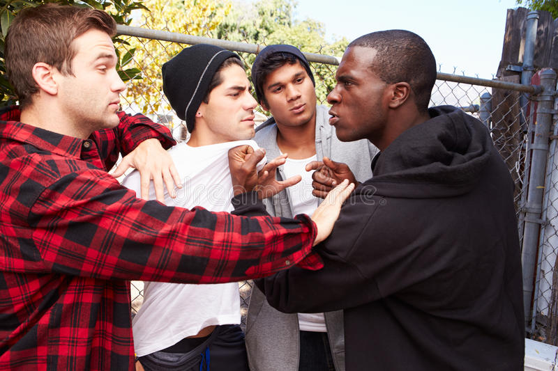 Fight Breaking Out Amongst Gang Members stock photography