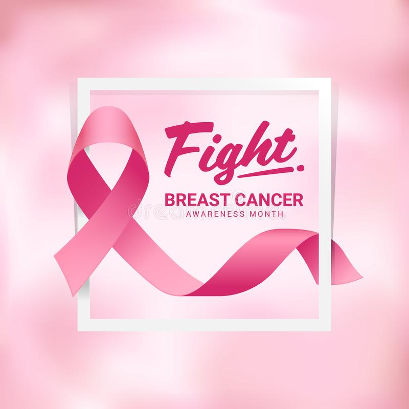 Fight breast cancer awareness month banner with pink ribbon on white frame and abstract soft blur pink background royalty free illustration
