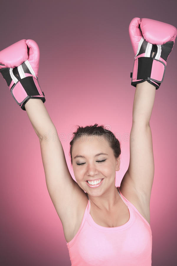 Fight for Breast Cancer symbol on pink background royalty free stock images