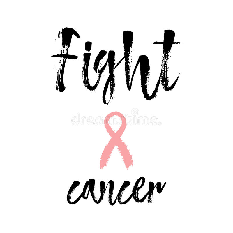 Fight Cancer. Inspirational quote about breast cancer awareness. stock illustration