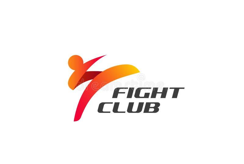 Fight Club Karate Kickboxing Taekwondo Logo design. Vector template. Man doing High Kick Combat Logotype concept icon vector illustration