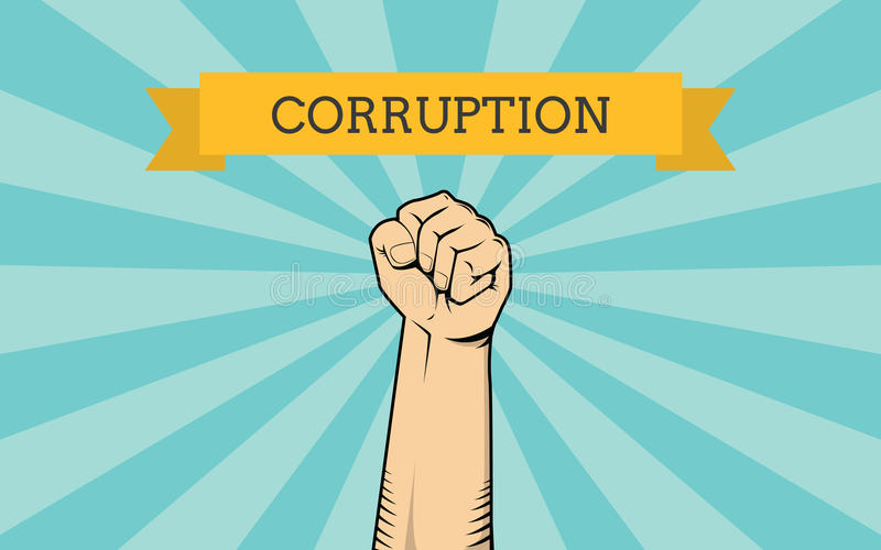 Fight for corruption illustration with single hand show fighting against it royalty free illustration