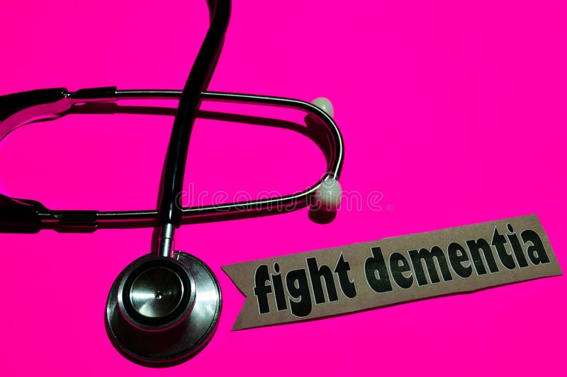 Fight Dementia on the paper with medicare Concept royalty free stock photography
