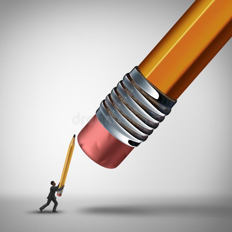 Fight The Establishment. Business challenge concept and underdog metaphor as a businessman defending himself against a giant pencil eraser as a symbol for vector illustration
