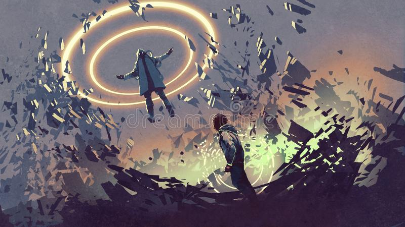 Fight with futuristic magics. Sci-fi scene showing fight of two futuristic men with magics, digital art style, illustration painting royalty free illustration