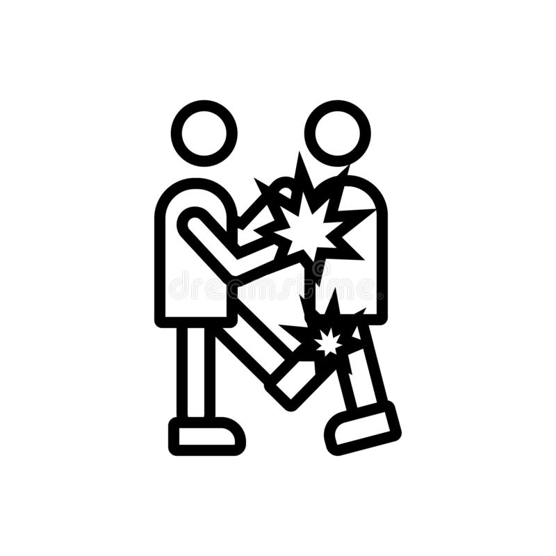 Black line icon for Fight, battle and issue vector illustration