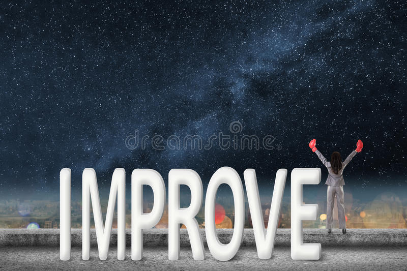 Fight for improve. Concept images with 3d text and asian business woman under sky stock images