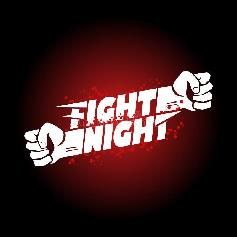 Fight night mma, wrestling, fist boxing championship for the belt event poster logo stock illustration
