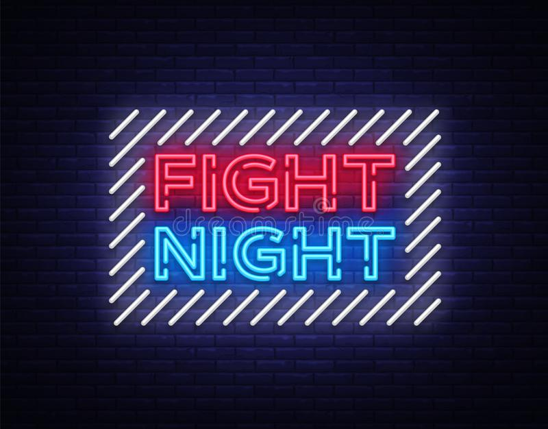 Fight night neon signboard. Bright night advertising, light banner, design neon sign template. Vector illustration.  vector illustration