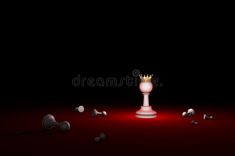Fight for survival. The last Hero (chess metaphor). 3D render il. Horizontal chess composition. Available in high-resolution and several sizes to fit the needs stock illustration