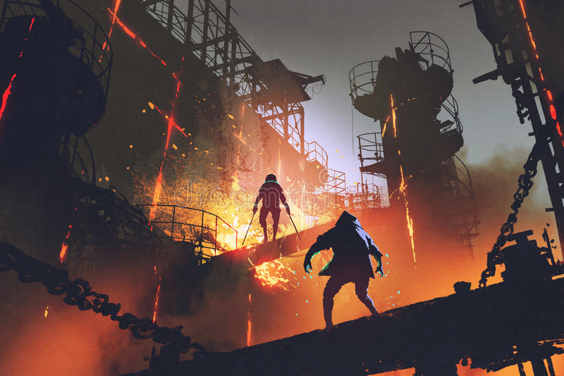 Fight of two futuristic warriors in industrial factory. Sci-fi scene showing fight of two futuristic warriors in industrial factory, digital art style royalty free illustration