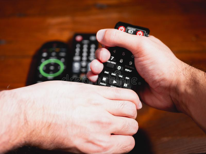 Fight for the remote control royalty free stock images