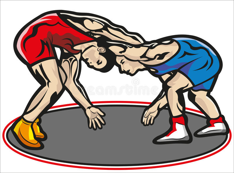 Fight, wrestling vector illustration