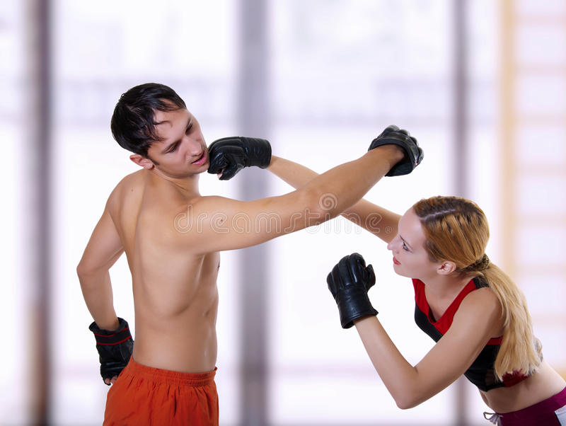 Fight of young couple. royalty free stock photography