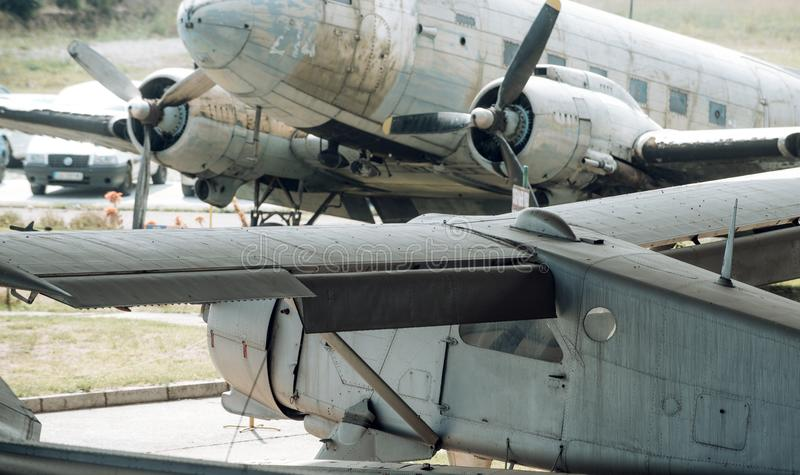 Fighter aircrafts on sunny day. Old war planes. Military airplanes outdoor. Aviation and army transport. Air power and stock photo