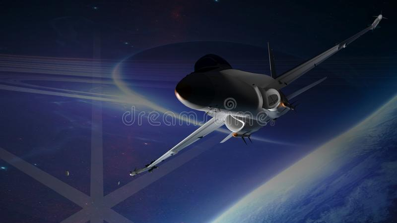 Fighter airplane. Flying in the open space stock illustration