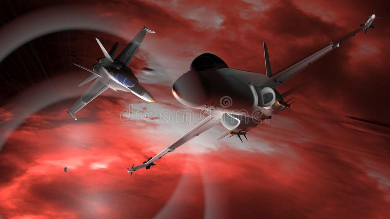 Fighter airplanes. Flying in the deep space stock illustration