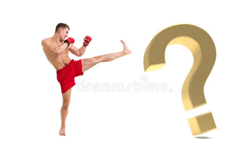 Fighter Boxing With Gold Question Mark Stock Image