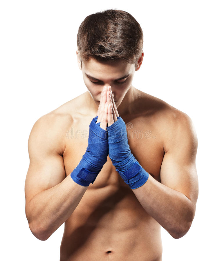 Fighter concentrated before fight stock photos