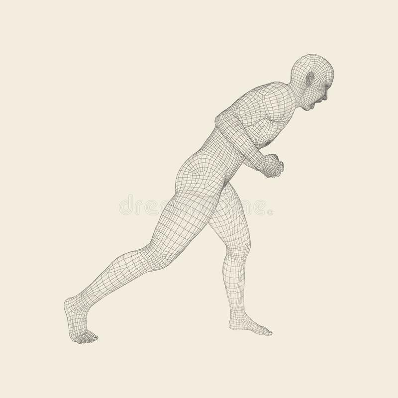 Fighter. Fitness sports. Martial arts. 3D Model of Man. Human Body. Sports Symbol. Design Element. royalty free illustration