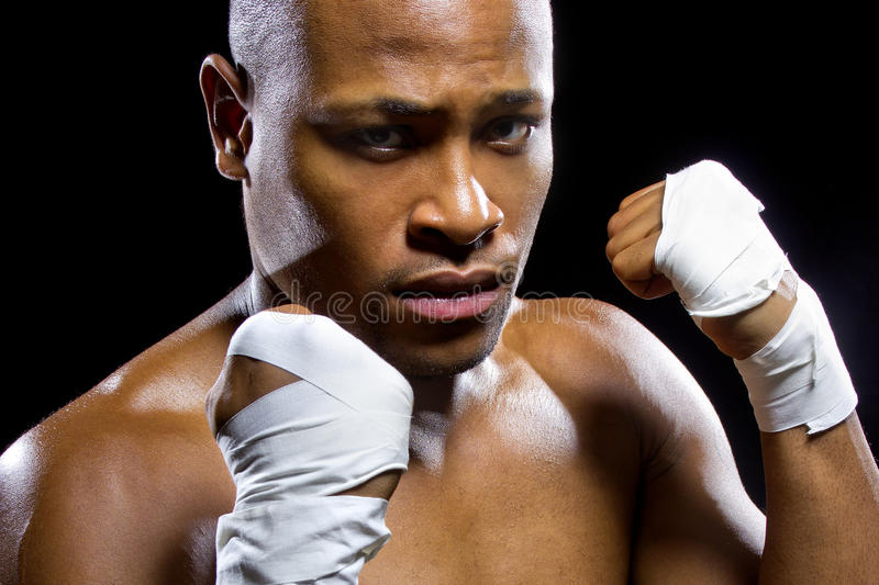 Fighter Flexing Muscles royalty free stock image