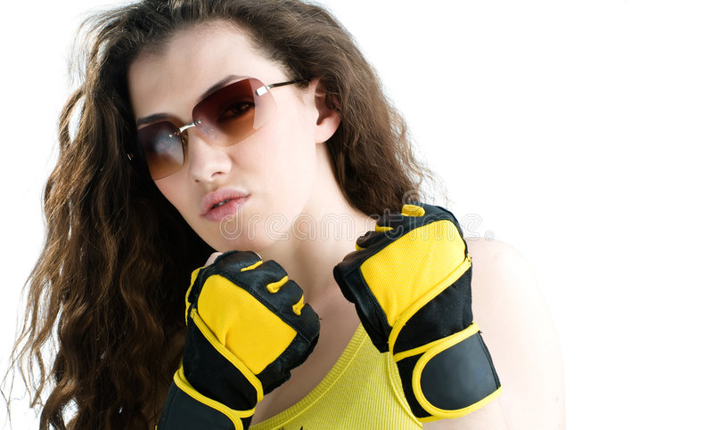 Download Fighter girl stock photo. Image of boxing, female, power - 4046274