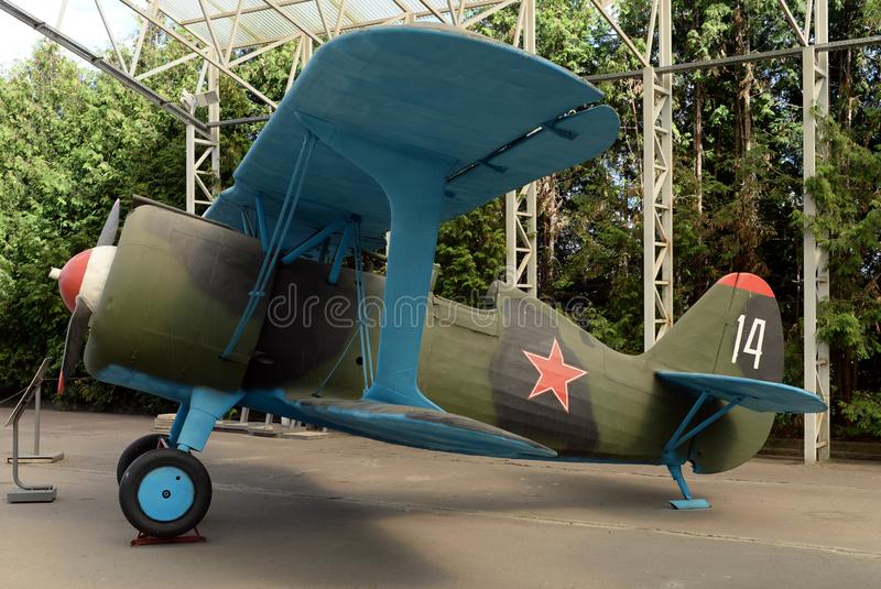 Fighter I-15bis in the Museum of military equipment on Poklonnaya hill in Moscow. MOSCOW, RUSSIA - JUNE 20, 2018: Fighter I-15bis in the Museum of military royalty free stock image