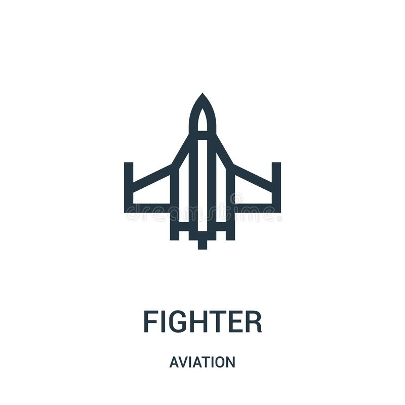 fighter icon vector from aviation collection. Thin line fighter outline icon vector illustration. Linear symbol for use on web and royalty free illustration