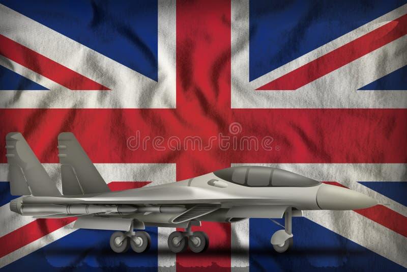 Fighter, interceptor on the United Kingdom UK state flag background. 3d Illustration. Fighter, interceptor on the United Kingdom UK flag background. 3d vector illustration